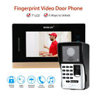 "7"" Fingerprint Video Door Phone Doorbell+Monitor Intercom Keypad Security System"