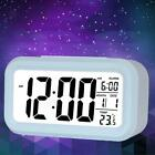 Digital ABS Alarm Clock Backlight Time Calendar Temperature Display Blue