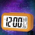 Battery Operat Snooze Alarm Clock Temperature Calendar Luminous Clock Orange