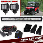 """Below Roof Roll Cage 30/32"""" LED Light Bar+4"""" Pods For Honda Pioneer 1000 700 500"""