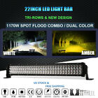 Dual Color TRI-ROW 1170W 22Inch LED Work Light Bar For Chevrolet Ford JEEP Truck
