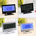 Sound Sensor Light Up LCD Digital Table Clock + Calendar Temperature Alarm