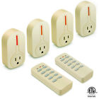 4 Pack Wireless Remote Control AC Power Plug Switch Outlet Socket 2 Remote Ivory