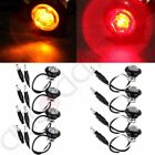 "4Amber/4Red Mini 3/4"" Round Single LED Clearance Side Marker Light Clear ABS Len"