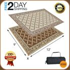 9x12 Reversible Patio Mat Outdoor Rug Picnic Carpet Camper Patio Beach Mat Brown