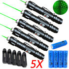 5PCS 532nm 1mw Green Laser Pointer Pen Visible Beam Lazer  18650 +Charger US