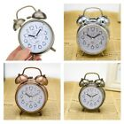 Vintag Golden Coated Metal Double Bell Alarm Clock Quartz Movement Bedside