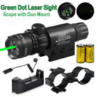 Tactical Hunting Rifle Green Laser Sight Dot Scope With Battery&Charge w/ Mounts