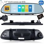 7'' Dual Lens HD 1080P Car DVR Rearview Mirror Camera Video Recorder Dash Cam