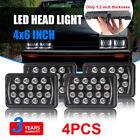 "4Pcs 4X6"" Cree LED Headlight Hi/Lo Light Bulb Crystal Clear Sealed Beam Headlamp"