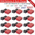 LOT 2300mAh 16340 Rechargeable Li-ion Battery For Flashlight+Battery Charger MA