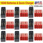 CR123A 16340 123A 3.7V 2300mAh Red GTL Rechargeable Battery + GTL Charger LOT MA