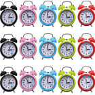 Retro Alarm Clocks Classic Double Bell Quartz Movement Bedside Night light