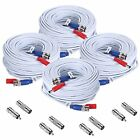 4-Pack 100ft BNC Video and Power Security Camera Cable with BNC and RCA Adapter
