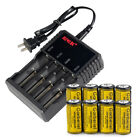 8PC Garberiel 1800mAh 16340 3.7V Lithium  Rechargeable Batteries+US Charger