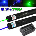 2X 20Mile Tactical 18650 Green +Blue Laser Pointer Lazer Pen Beam + Dual Charger