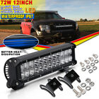 LED Light 12Inch 72W Spot Flood Combo Light Bar Dual-Row For Off Road Chevy Jeep