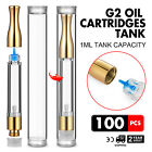 100 Pack G2 Oil Cartridges 1ml Tank Pyrex Glass Luxury W/ Cover Non-deformed