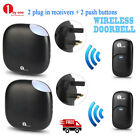 1byone Wireless Doorbell Chime Alarm Ring 2 Plug-in Receivers + 2 Transmitters