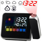 LCD Digital LED Projector Projection Weather Station Calendar Snooze Alarm Clock