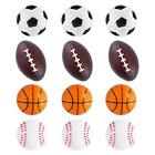 Sports Themed Mini Stress Balls Squeeze Foam for Anxiety Relief, Relaxation, 12