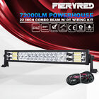 22'' Light Bar Full LED Triple Flood Spot Dual Row Work Driving Lamp DT Wiring