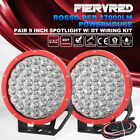 2Pcs 9 inch LED Lighs Red Spotlight ATV Offroad 4x4WD 12V 24V w/ DT Wiring Kit