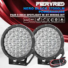 9inch 2X 24V 12V LED Driving Light Black Spotlights w/ DT Wiring Kit PMMA Covers