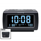 "Decent Alarm Clock Radio FM USB Port Charging 1.2"" BLUE Digit Displ BLACK Medium"