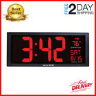"""Big Digital Wall Clock LED Display with Date and Indoor Temperature, 14.5"""""""
