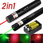 10Miles 303 Green+Red Laser Pointer Lazer Pen Beam Light + 2*18650 +Dual Charger