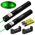 2 x 10Miles 532nm Green Laser Pointer Lazer Pen Visible Beam Light+18650+Charger