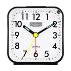 Peakeep Small Battery Operated Analog Travel Alarm Clock Silent No Ticking, on