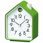 Analog Alarm Clock Chirping Bird Green NR434M Japan new.