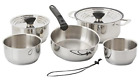 Galleyware Company 14 Piece Nesting Stainless Steel Induction Cookware Set,