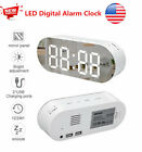 USB LED Digital Alarm Clock Mirror Screen Modern Numbers Snooze Alarm Function