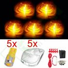 5x Cab Marker Top Lights Lamp Clear Lens W/ Free Bulb+Wiring Pack For 99-16 Ford
