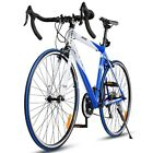 Road Bike Blue 21 Speed Mens Professional Racing Bicycle Lightweight Aluminum