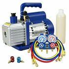 3.5CFM Single-Stage Rotary Vane Vacuum Pump w/ R134a AC A/C Manifold