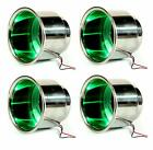 4 Pcs 3 LED Recessed Stainless Cup Drink Holder with Drain Marine Boat Rv -Green