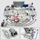 T4 GT45 22PC TURBO CHARGER KIT MANIFOLD+CROSS PIPE 79-93 FORD MUSTANG 5.0L V8