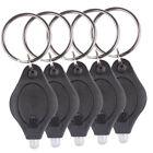 10pcs Mini Bright LED Micro Camping Light Keychain Squeeze Light Key Ring Black
