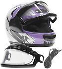 Snowmobile Helmet Adult Purple Electric Heated Shield Full Face Dual Lens DOT