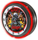 "Biker Garage 18"" Carbon Fiber Red Neon Clock from Redeye Laserworks"