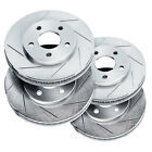 Fit 2000-2002 Mercedes-Benz E430 Front Rear PowerSport Slotted Brake Rotors