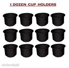 """SeaChoice Dozen 12 Black Plastic Recessed Drink Can Cup Holders 4-1/4"""" Hole Boat"""