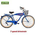 "Kent Beach Cruiser Bike Men's 26"" Blue Hybrid Commuter Bicycle Comfort Bike New!"
