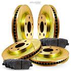 Full Kit Gold Slotted Brake Rotors and Ceramic Brake Pads 2009-2011 Cadillac STS