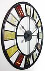 "Oversized Wall Clock Round Metal 24"" Hanging Abstract Art Modern Home Decor New"