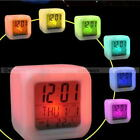 LED Color Change Glowing Alarm Clock Time Data Week Temperature Display